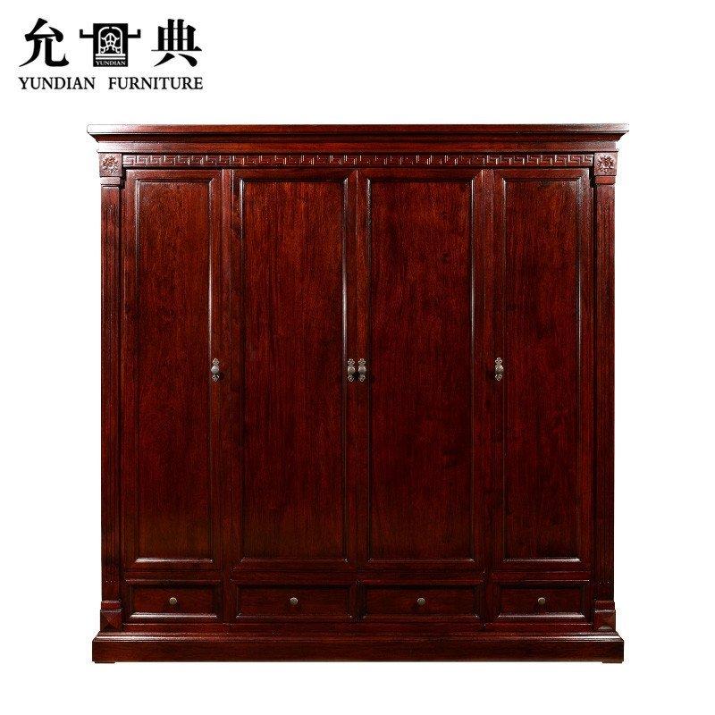 允典红木家具 花梨木01型欧式新古典卧房五件套 床 衣橱组合高清实拍