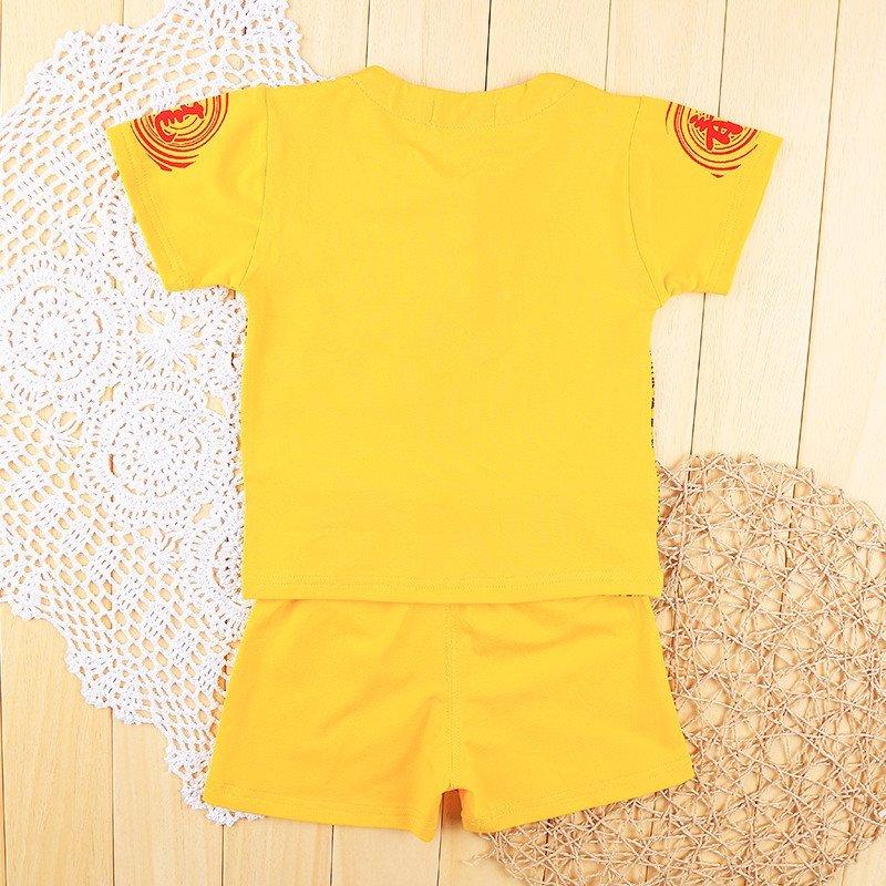 夏季儿童唐装男童装宝宝套装礼服幼儿园表演服宝宝抓周服 100cm 黄色