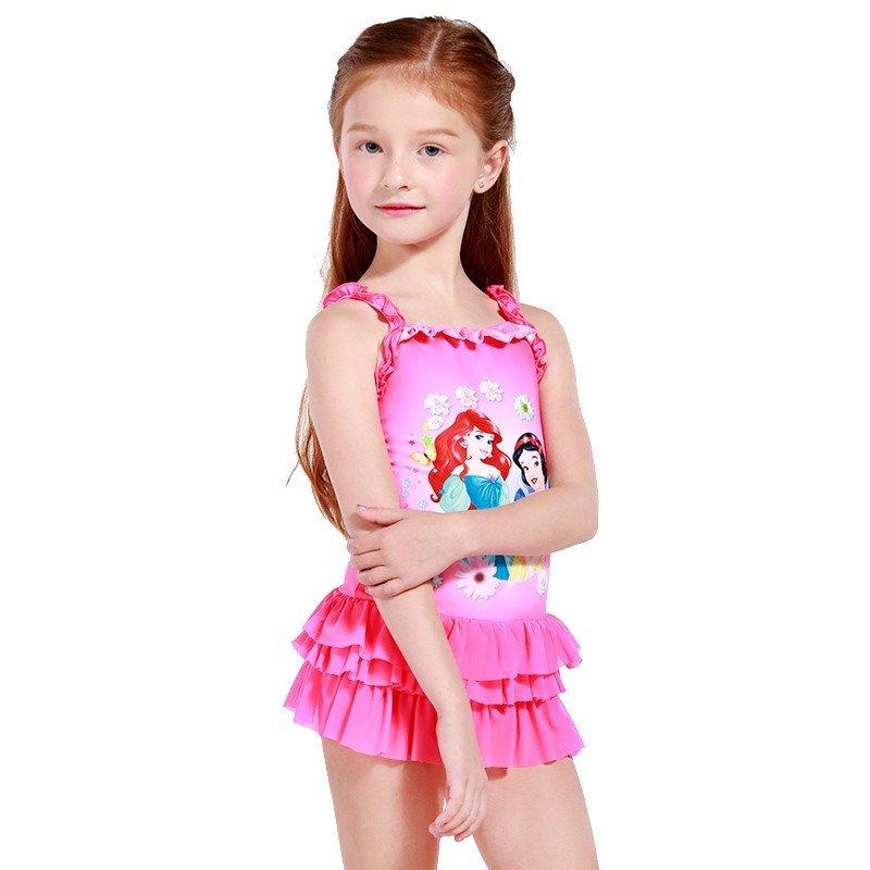 迪士尼儿童公主宝宝连衣裙式游泳衣防晒韩版连体女孩泳装女童泳衣 12