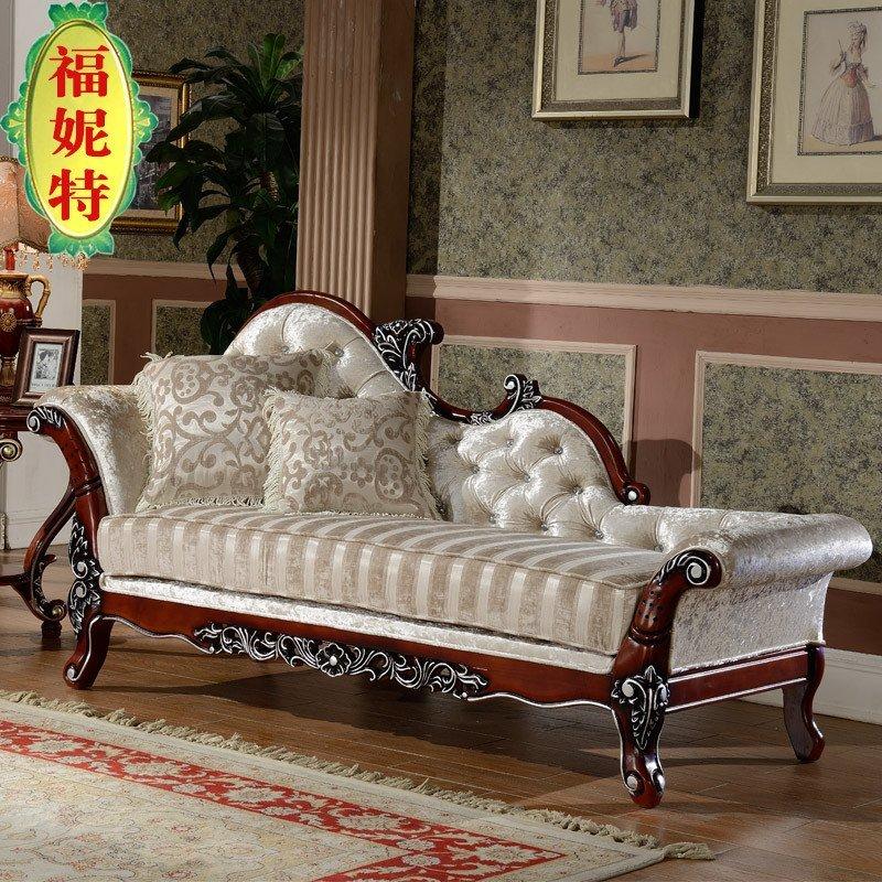 福妮特家具 欧式贵妃椅布艺新古典贵妃榻 法式卧室美人榻 实木贵妃
