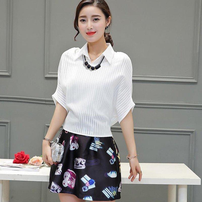 2016夏季新款韩版时尚女装百搭蝙蝠袖修身五分袖翻领印花连衣裙两件图片