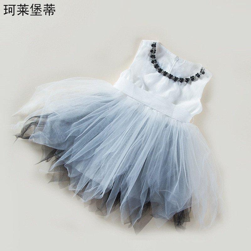 珂莱堡蒂 裙子新款蓬松网纱可爱公主连衣裙 120cm 黑色