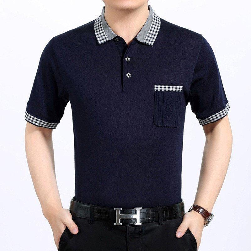 2016夏装新品男士短袖t恤 翻领男式t恤衫 品牌男装 polo衫 180 蓝色