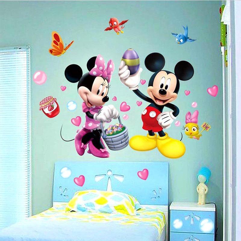 可爱米奇米妮卡通人物 客厅卧室 儿童房幼儿园 防水背景装饰墙贴