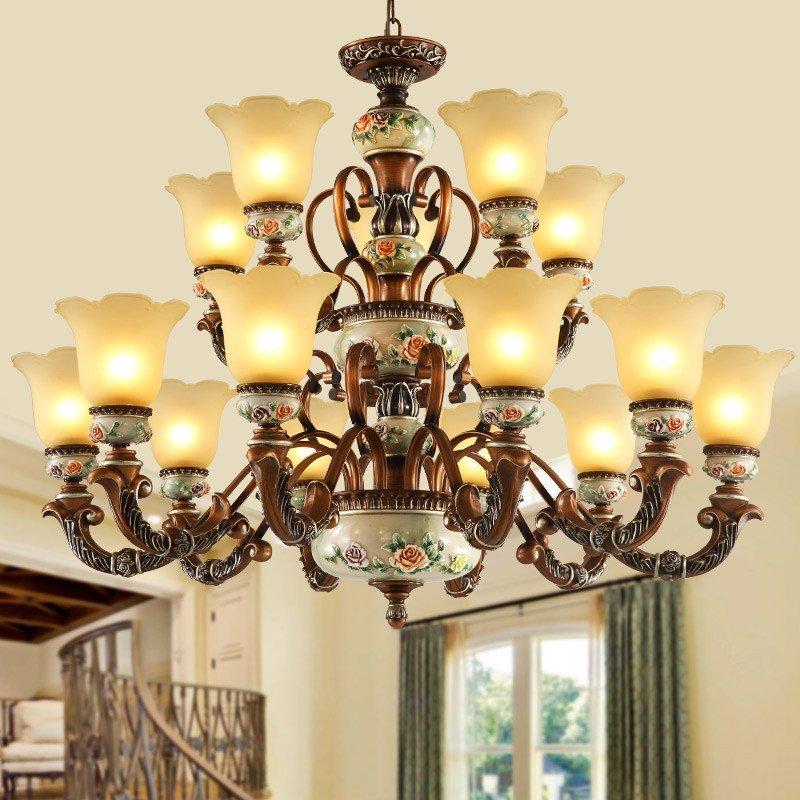 异朵欧式客厅吊灯卧室现代简约餐厅灯饰复式大厅简欧田园树脂灯具636