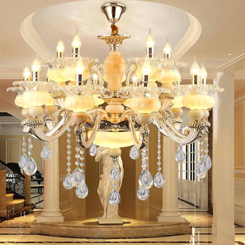 锌合金玉石水晶吊灯客厅欧式吊灯别墅餐厅吊灯酒店工程吊灯具 锌合金