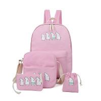 四件套书包可爱萌系小熊书包高中女生帆布双的小女生桃子图片