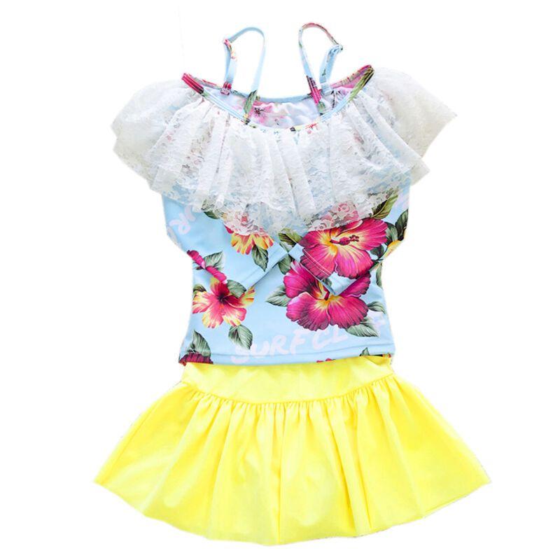 儿童游泳衣女孩宝宝 可爱公主防晒保暖女童分体裙长袖