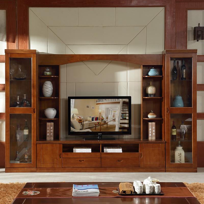 现代简约实木电视柜 实木组合柜客厅影视墙实木电视柜带储物空间橡木