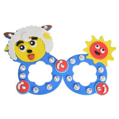 孩派eva手工制作 diy立体 粘贴儿童益智玩具 创意贴画 eva眼镜 小羊