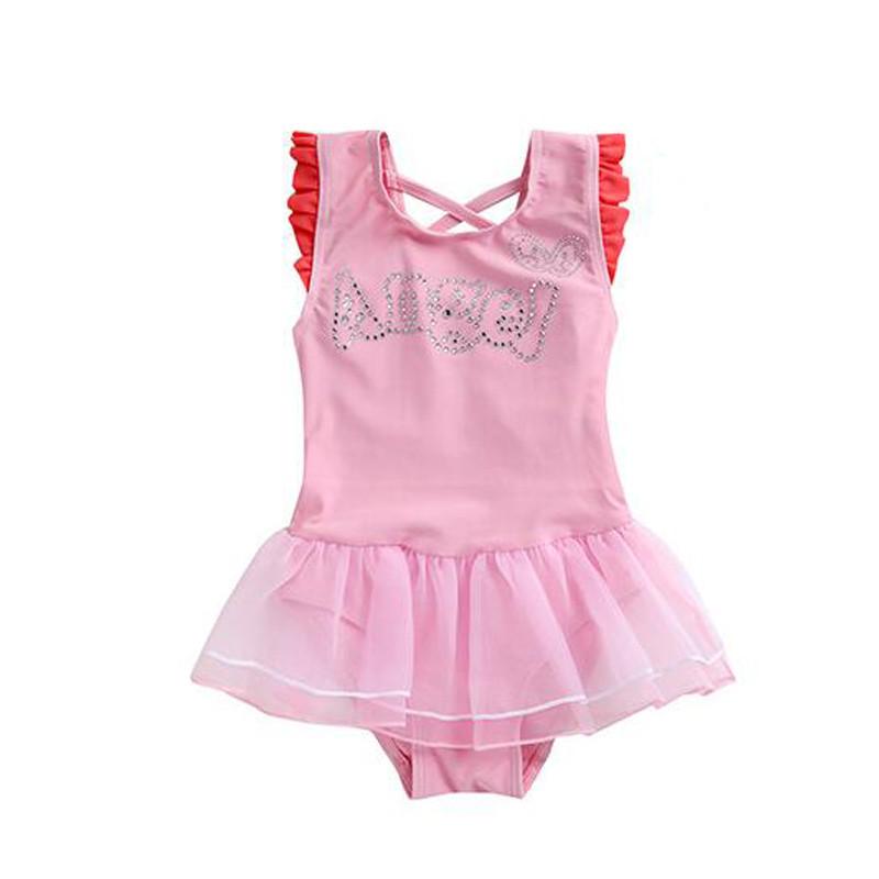 运2016新款可爱儿童泳装 女童连体泳衣 小孩宝宝游泳衣 4码 粉色
