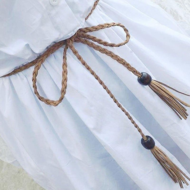 编织腰链韩版加长流苏树叶腰链百搭装饰裙带配饰绳子皮带简约民族风