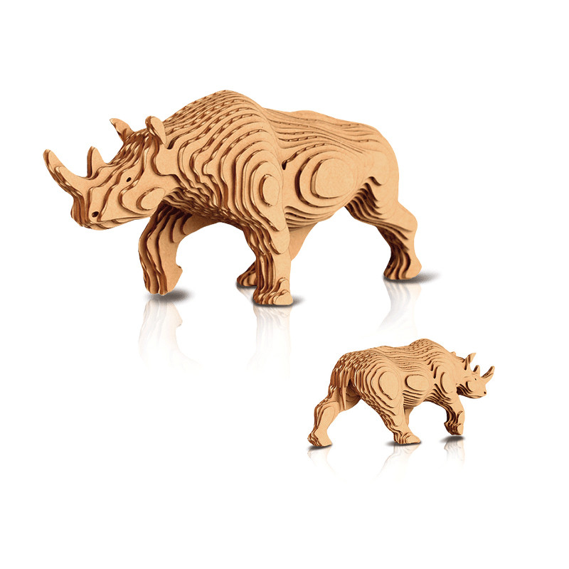 contamo 3d立体模型 宝宝diy手作益智玩具 野生动物系列-犀牛(大号17