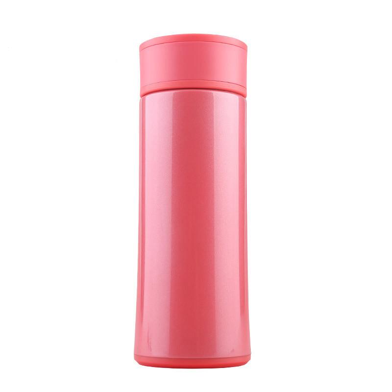 万象保温杯 女士便携杯子不锈钢杯子细长型水杯a33 粉色