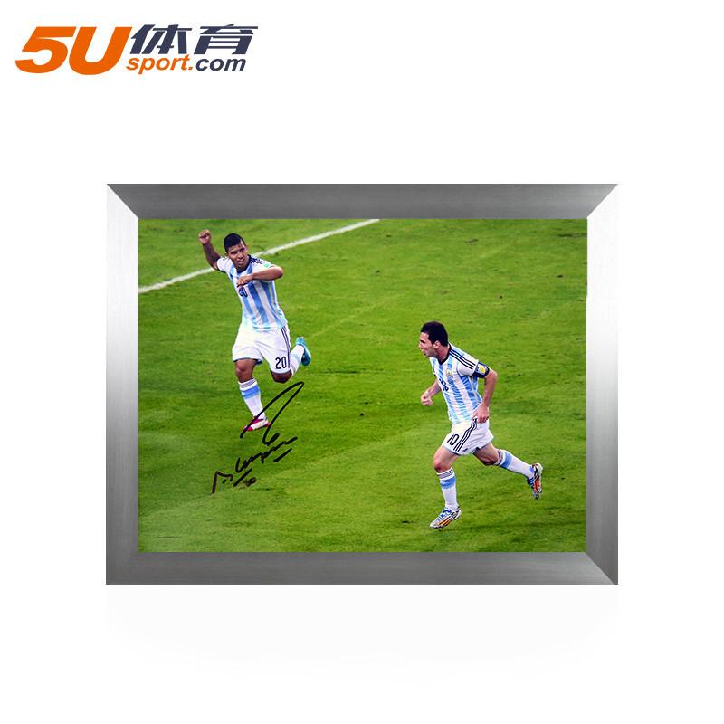 阿圭罗阿奎罗亲笔签名2012世界杯进球后与梅