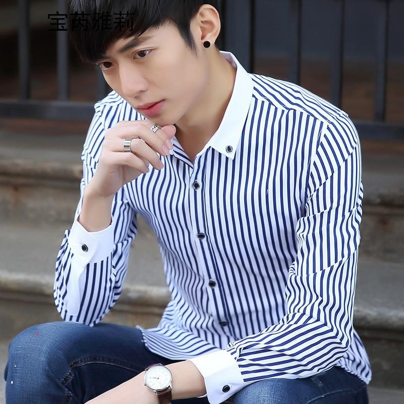 宝芮雅莉新品男生长袖衬衫条纹翻领bqy-826