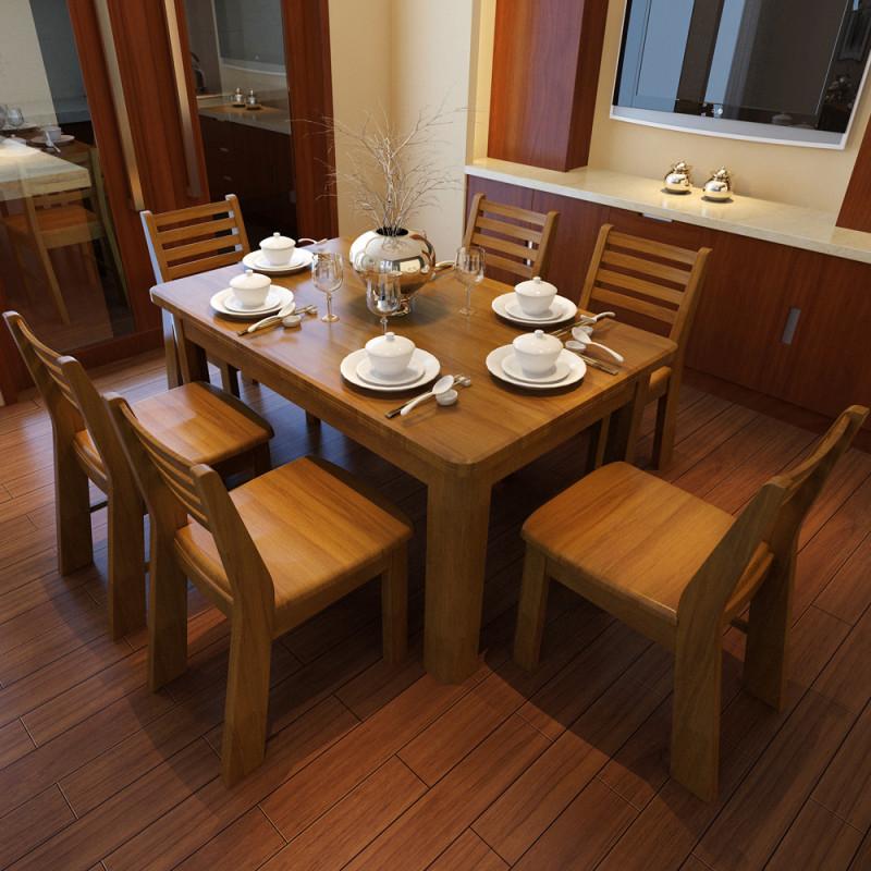 5米胡桃木色木质餐台 1.35m一桌四椅【出口版】