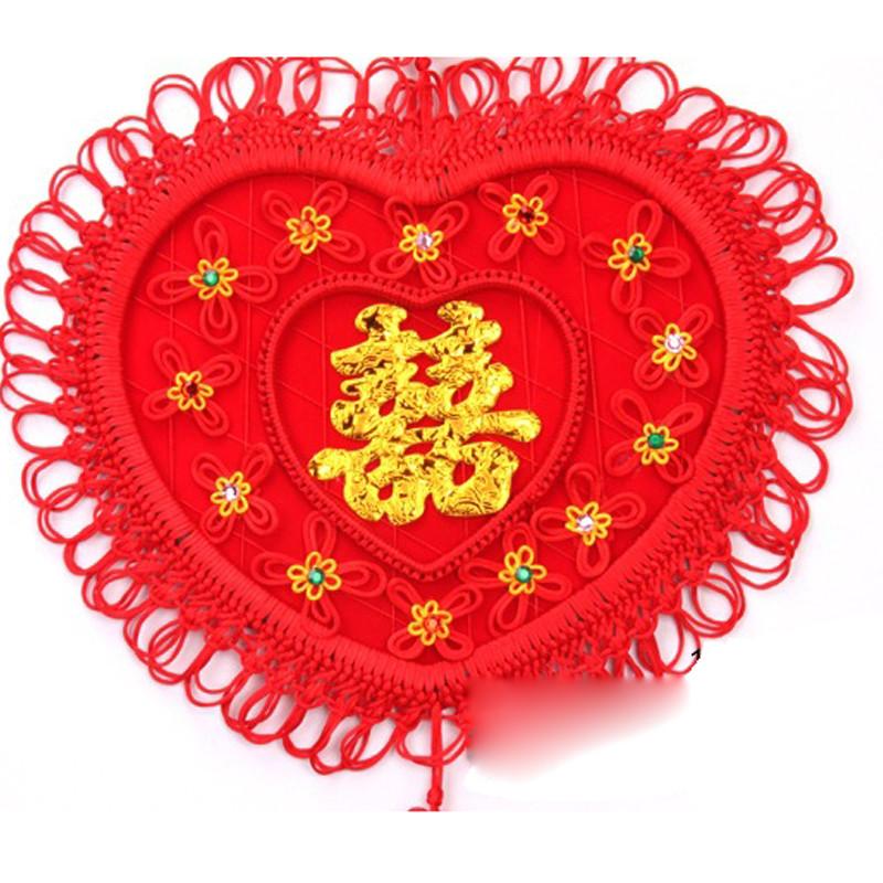 吟秀 婚庆结婚用品 婚房装饰/挂饰/中国结挂件-编织-心形彩钻小花a 均