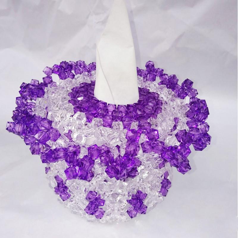 吟秀 创意透明珠子 diy手工串珠纸巾盒 抽纸盒 创意摆件 青色