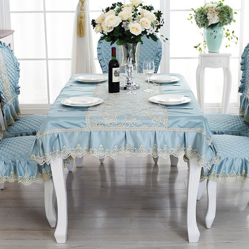 桌布套装蓝色加大欧式椅子套餐椅套欧式桌布茶几椅垫欧式椅垫 咖啡色