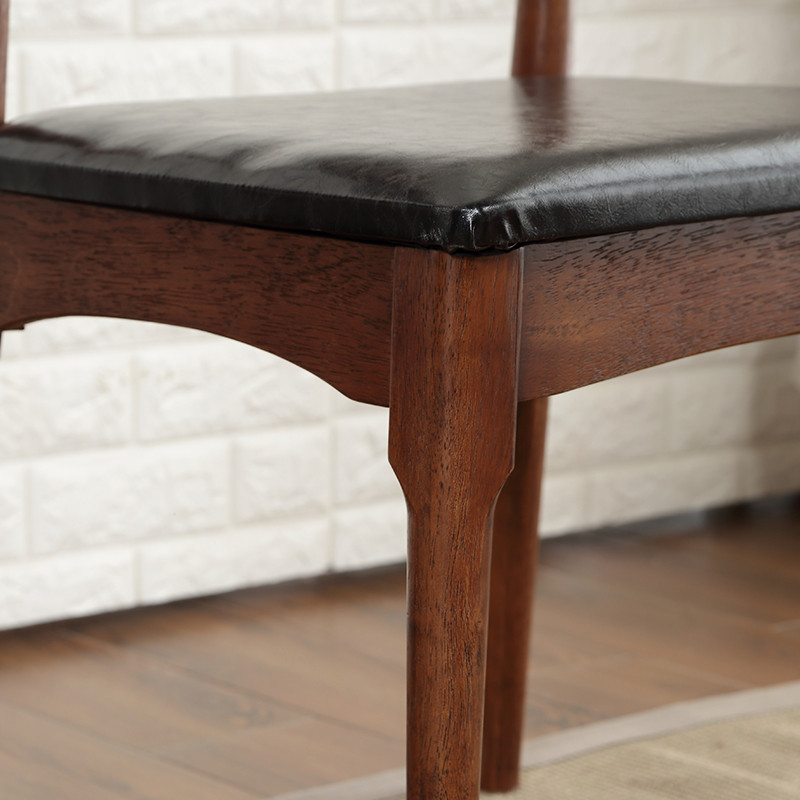 日式简约牛角椅 实木餐椅 实木家具椅子凳子 黑胡桃色高清实拍图