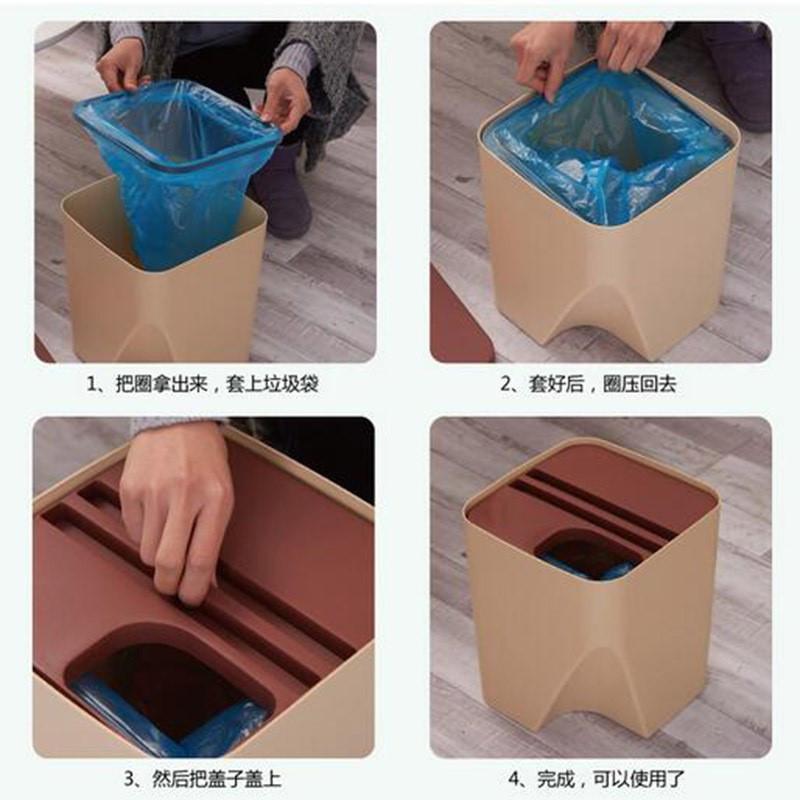 大号创意可叠加环保垃圾桶厨房分类垃圾篓办公室纸篓带提手垃圾筐