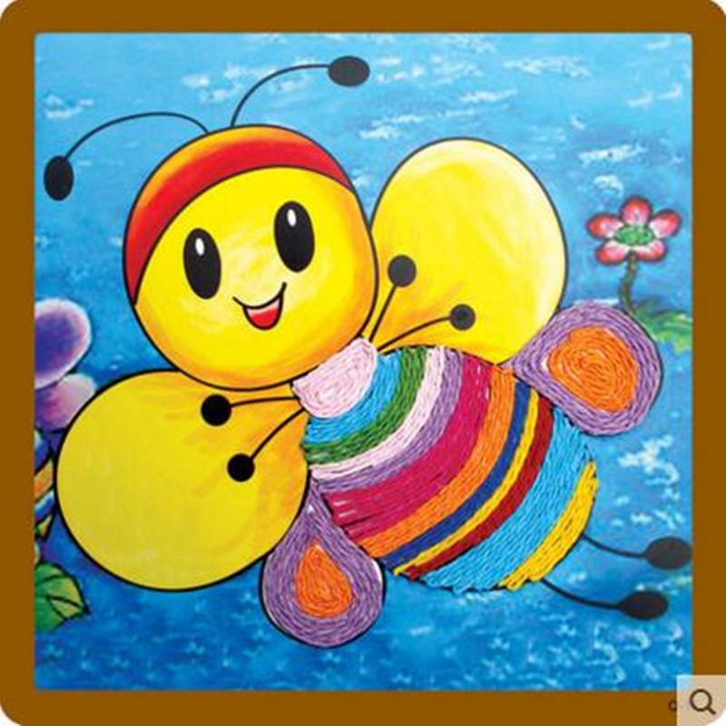 纸绳画 儿童手工制作材料 幼儿园粘贴画 绳子艺术玩具 蜜蜂高清实拍图