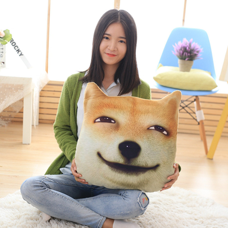 绒翼3d滑稽狗神烦狗头表情包柴犬doge二哈方了抱枕靠垫二次元毛绒玩具