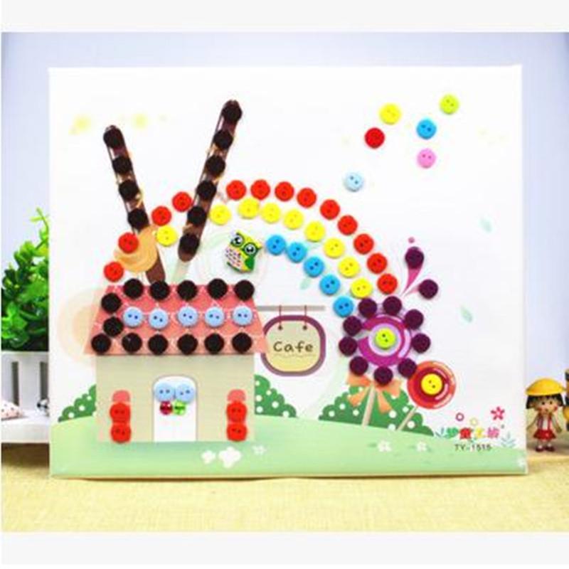 木质相框 diy纽扣画 儿童手工制作 幼儿园扣子粘贴画玩具 七彩树