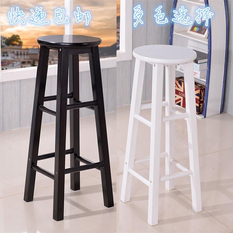 实木吧椅简约吧台椅吧台凳复古高脚凳欧式酒吧凳高脚椅圆凳子包邮 60