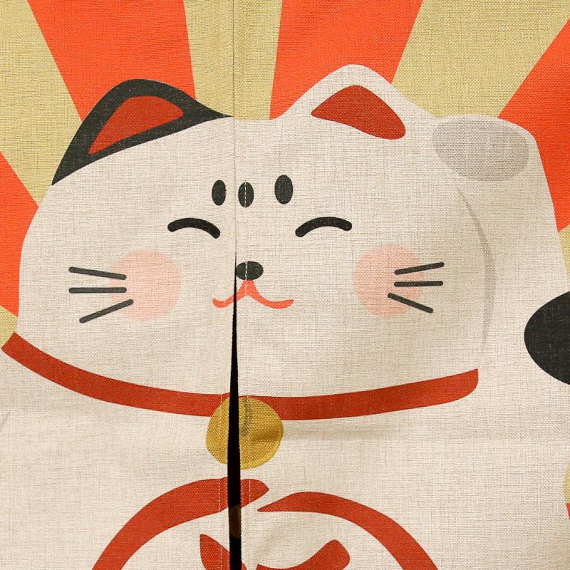 一橙日式可爱招财猫棉麻门帘和风玄关卧室厨房布帘隔断半帘卫生间挂帘