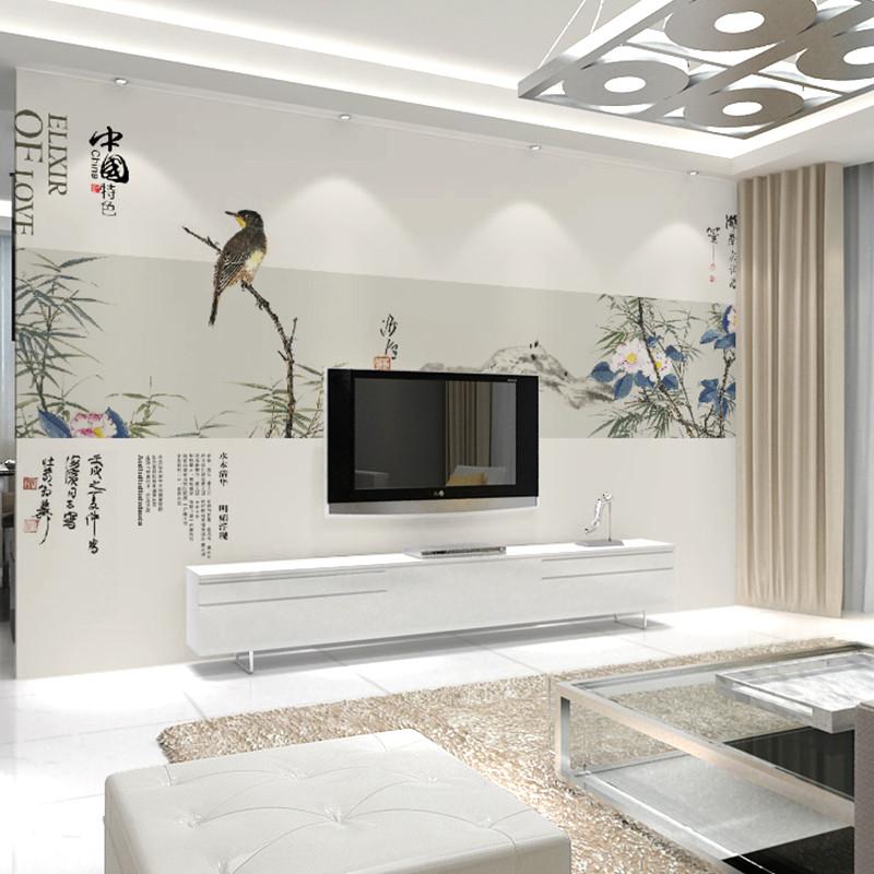 卡茵 中式簡約客廳電視背景墻壁畫 唯美影視墻墻紙可定制壁紙 英國