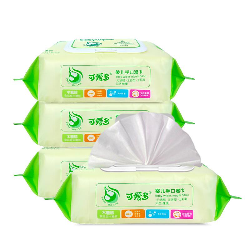可爱多婴儿手口柔湿巾80片(盖)*4包高清实拍图
