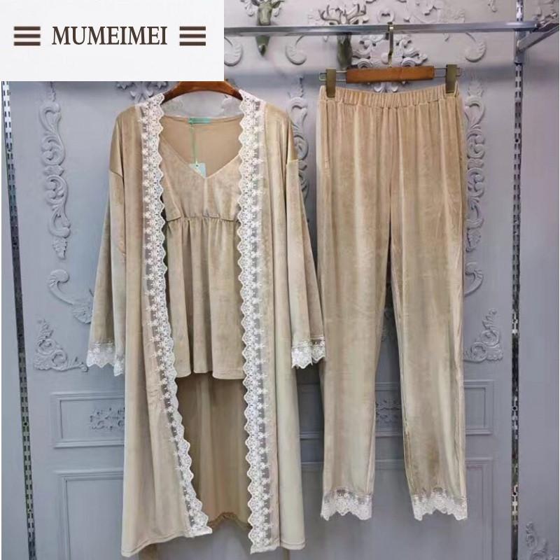 MUM秋冬新款丝绒蕾丝边三件套睡衣套装性感