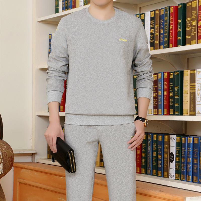 Vanled春秋季运动套装男士圆领套头长袖卫衣