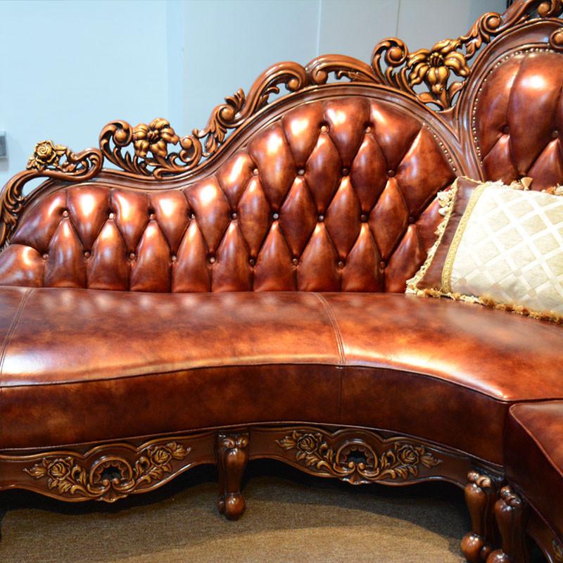 淮木 小户型皮沙发欧式皮沙发 l型 转角雕花沙发 美式客厅家具 转角沙