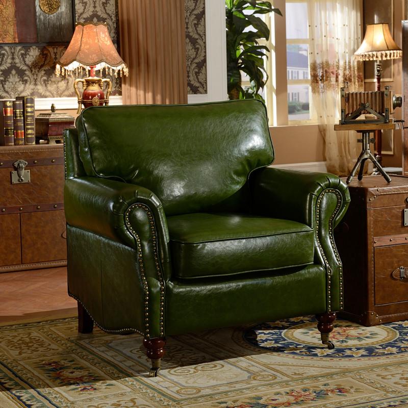 欧式沙发 1 2 3组合绿色油蜡皮