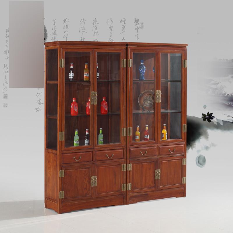 淮木 实木中式酒柜 书柜带玻璃门展示柜陈列柜 家具花梨木酒柜 双个