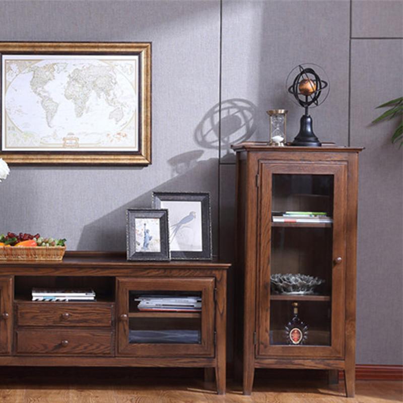 实木储物柜 红橡实木酒柜橱子 胡桃木色抽屉展示电视柜边柜 美式实木