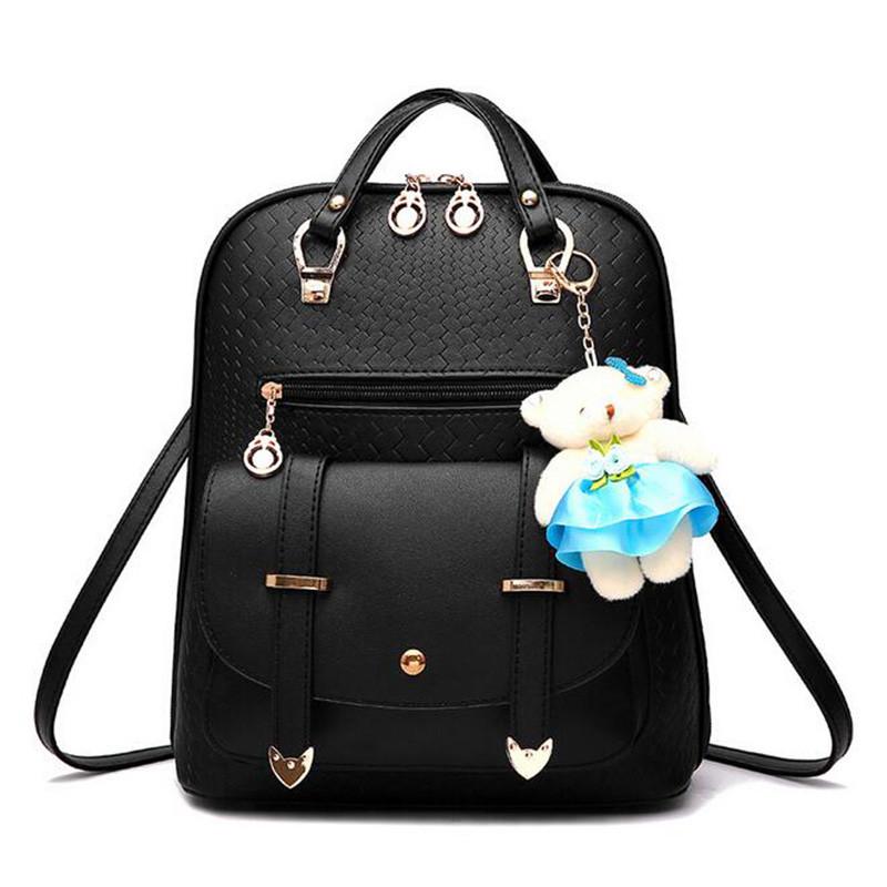 双肩包女 2017新款韩版休闲背包 两用小熊挂件女包学生时尚编织书包图片