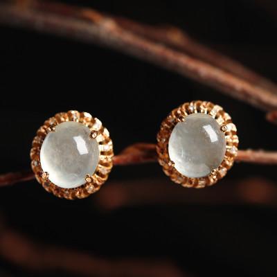 彩丽馆 翡翠冰种耳钉18k镶嵌玉石蛋面耳坠女款镂空耳环圆形耳饰品 带