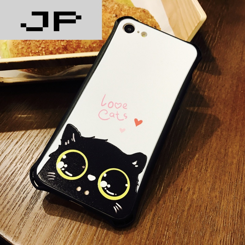 壳浮雕苹果7plus保护套6s情侣简约可爱小猫_8 6/6s小蛮腰白底小黑猫