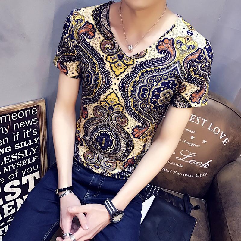 c2潮朝男士短袖t恤快手红人夜店纹身衣服小衫发型师社会精神小伙韩版