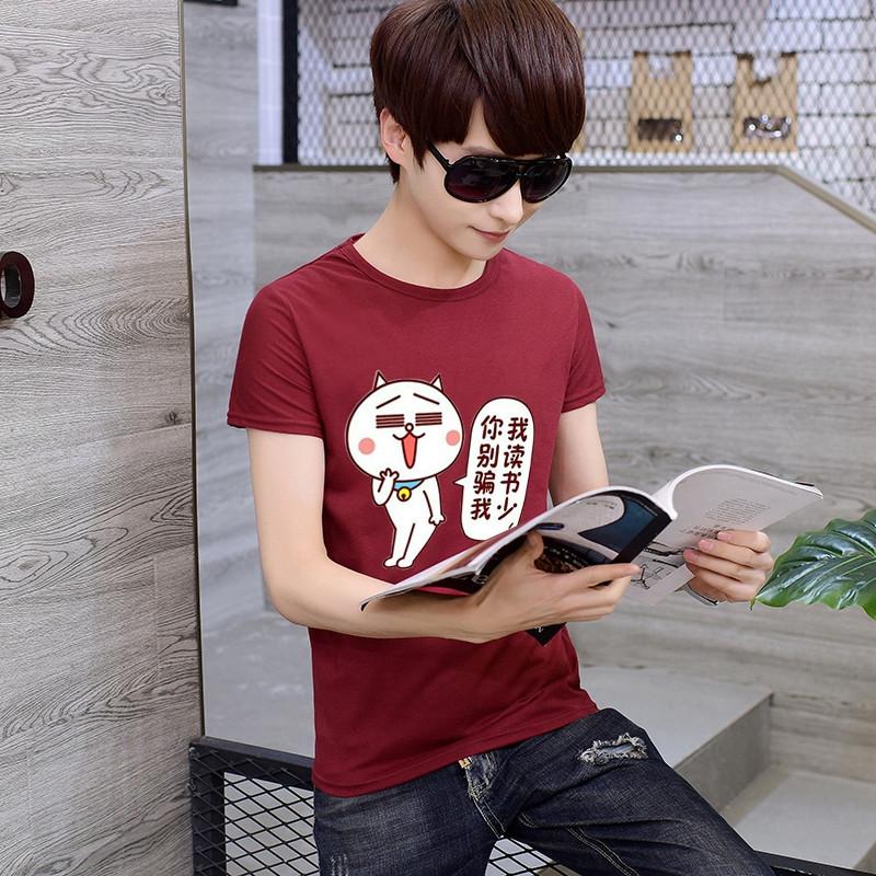古莱登T恤男2017春夏季趣味修身表情包萌表情图片男士印图片