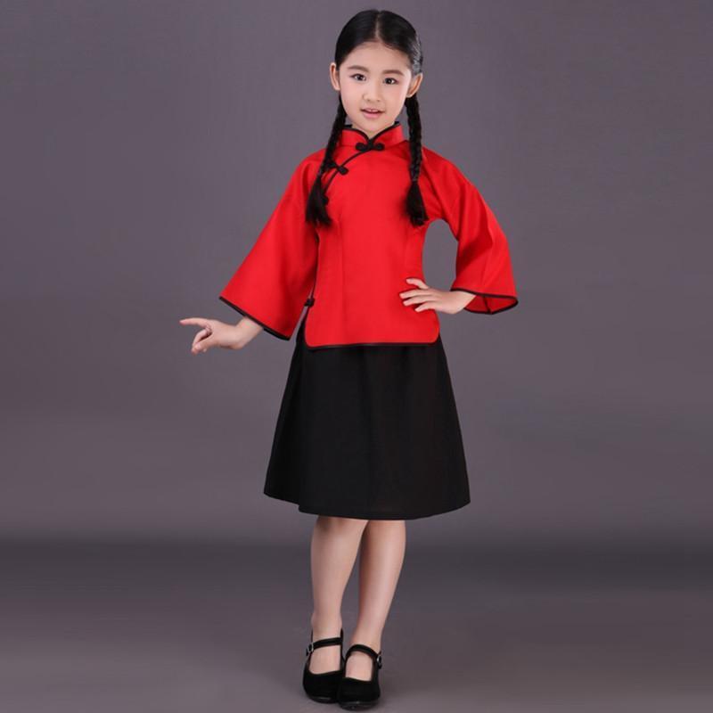 六一小女孩儿童宝宝民国五四青年学生唐装表演出舞台蹈合唱服古装1 13