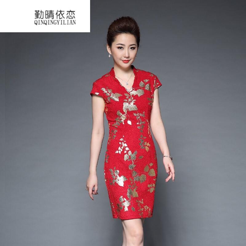 唐装短袖连衣裙女民族风改良旗袍中长款大码修身印花裙子ysl4y红色 l