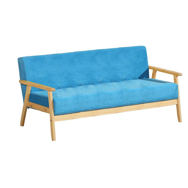 三人简易布艺沙发椅 超柔湖蓝色