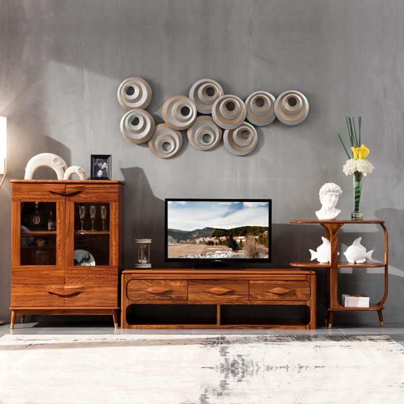 龙森家具 实木家具全实木电视柜 北欧乌金木电视柜组合 客厅家具 电视