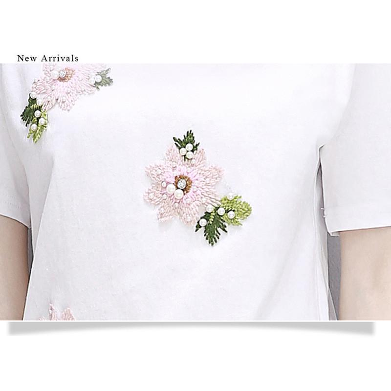 娇米诗2017夏季新款韩版牛仔裤T恤套装女刺绣