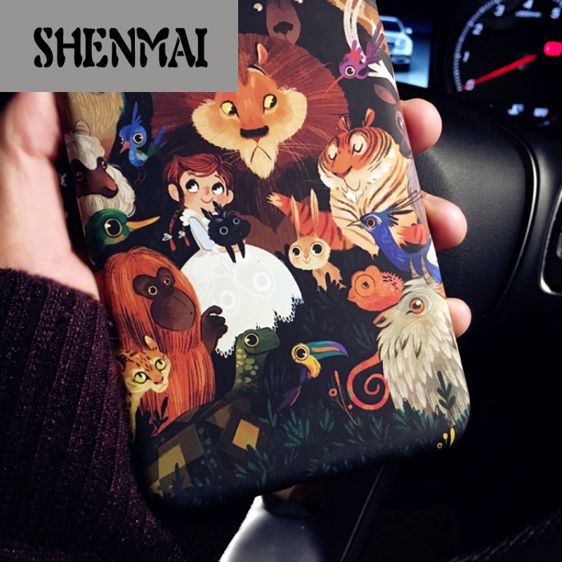 shm品牌新款卡通动漫可爱动物苹果7 iphone6s情侣手机壳7plus磨砂硬壳